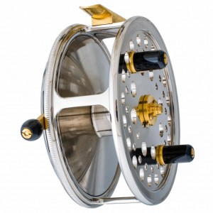 "2001. John Milner made two 4-1/4"" spey fishing reels with nickel and 24K gold plated finishes."