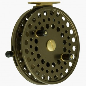 "2007. A John Milner ""Big E"" Kingfisher Cheese-Grater ported frame is custom made around a 5"" ball bearing Kingfisher. Three more were later made ""Kingfisher Big E"" with Big E becoming a production model designated for Lake Erie steelhead float fishing."
